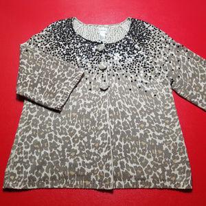 Chico's size 2 leopard/sequin half sleeve sweater